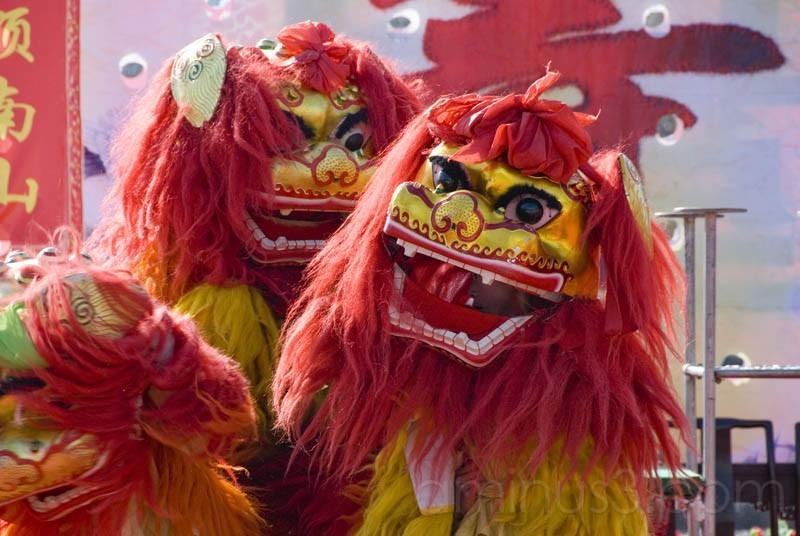 Performance of Dragon dancing