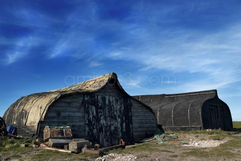 upturned 'boat' sheds on Holy Island