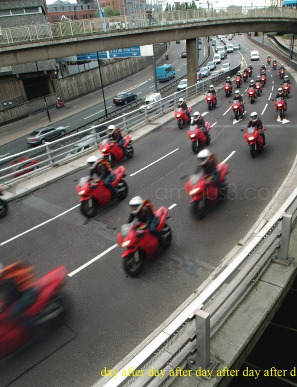 multiple composite motorbike traffic jam