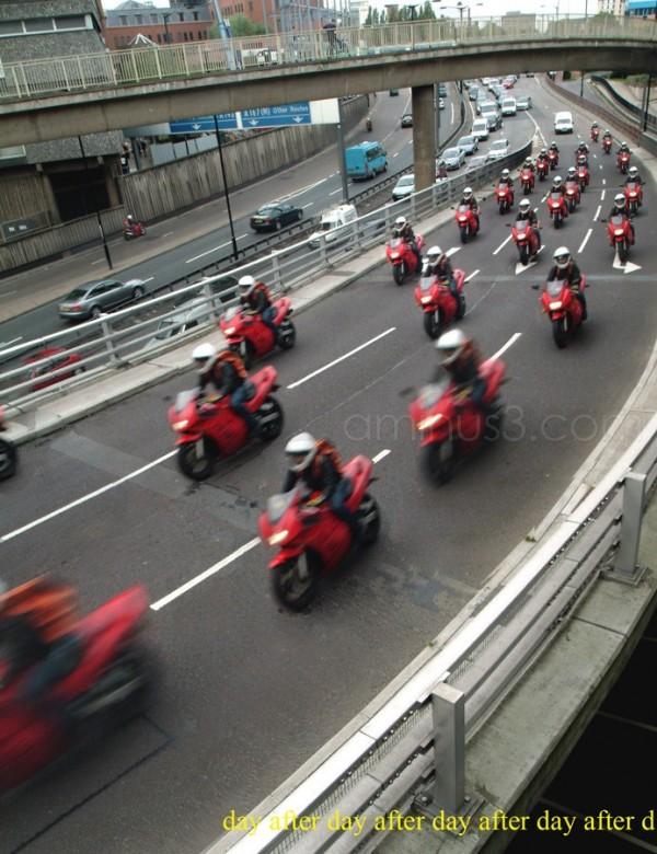 multiple composite motorbike traffic jam