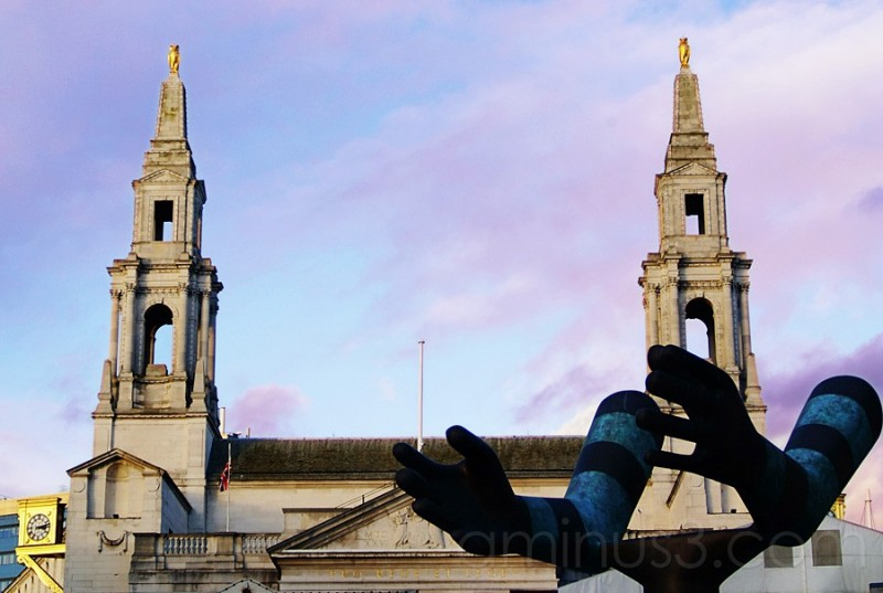 Modern art sculpture in Leeds Town square