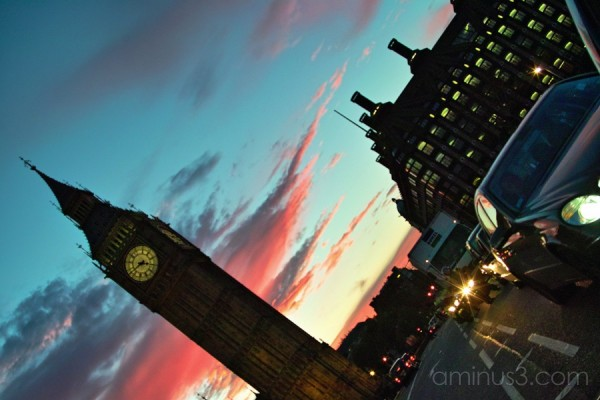 Big Ben and a magenta dusk, London