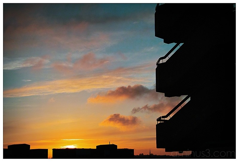 Gateshead Carpark silhouette against sunset