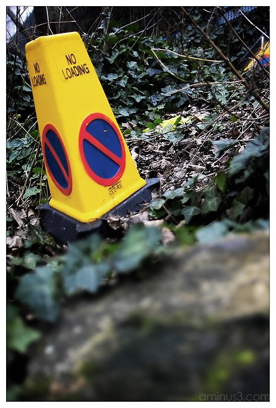 abandoned police cone - no loading