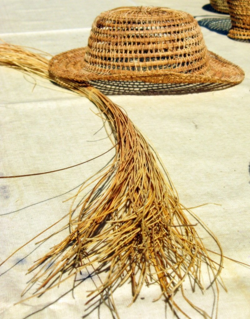 A hat from palm leaves