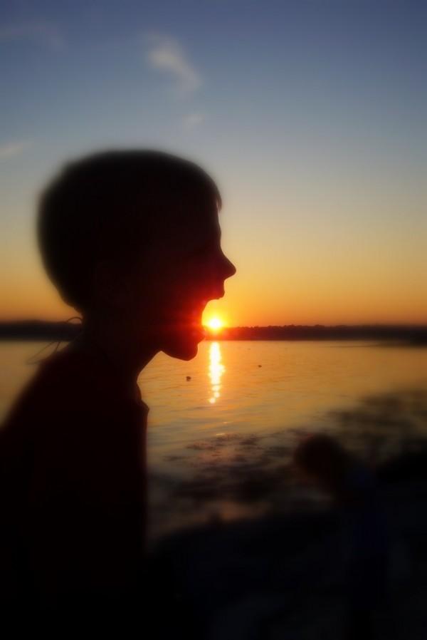 boy eating sun