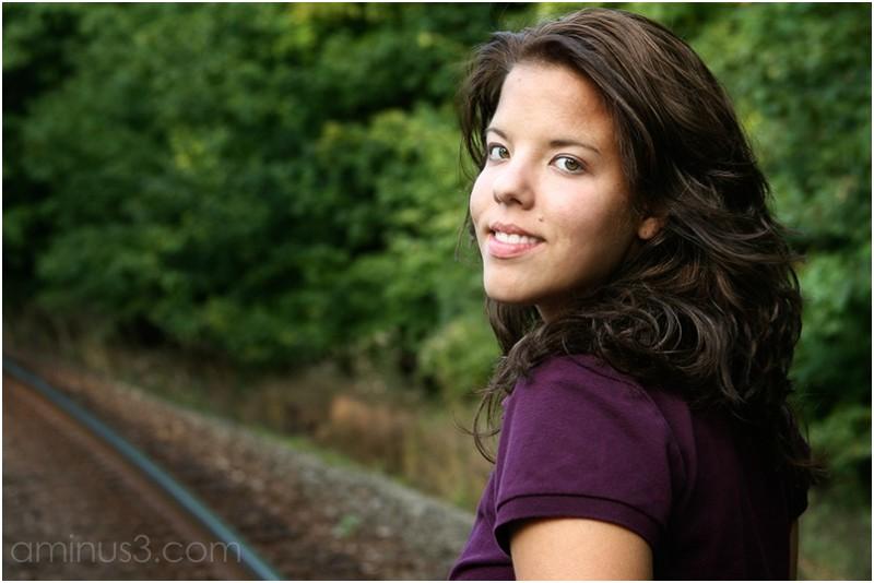 stepdaughter, portrait, railroad tracks, summer