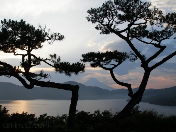 Fuji Mountain, Japan in sillouette at sunset