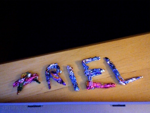 My name in Easter candy foil