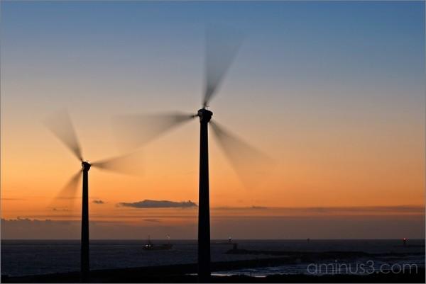 Wind Turbines after Sunset
