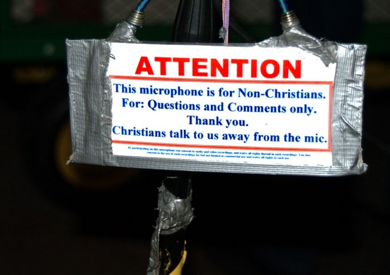 This microphone is for Non-Christians.