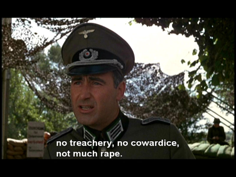 No treachery, no cowardice, not much rape
