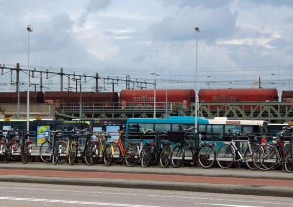 Train, tram, bus, bikes