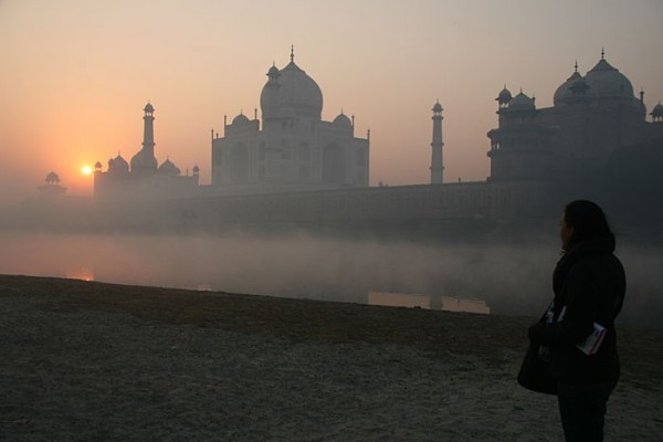 Taj across the river at sunrise