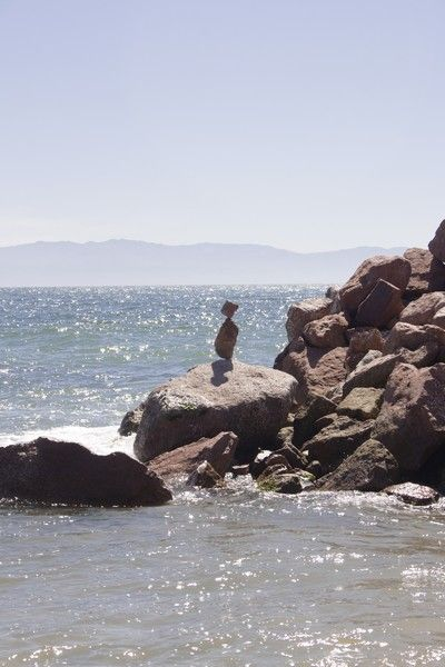 A rock standing