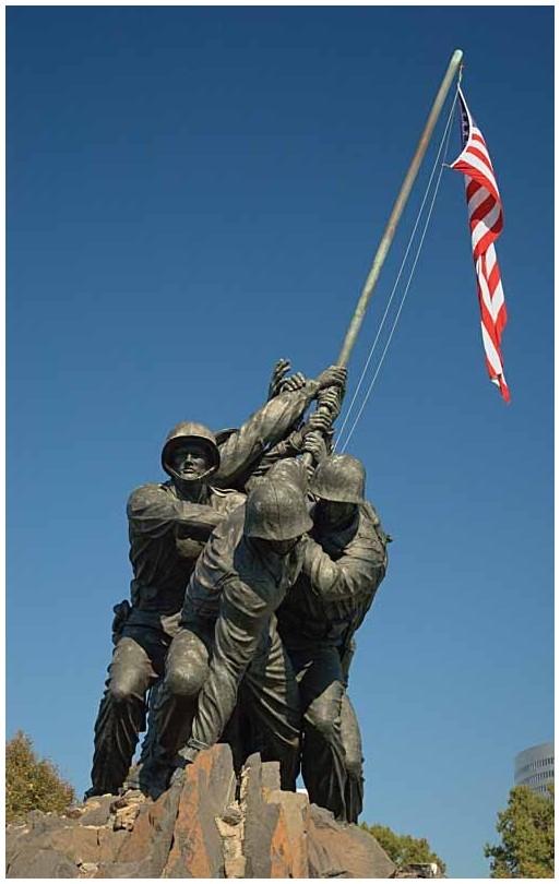 Closeup of Iwo Jima Memorial, Washington, DC