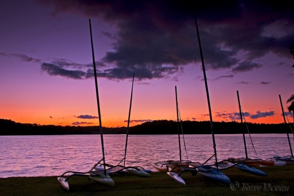 Catamarans at sunset, Marsh Creek State Park, PA
