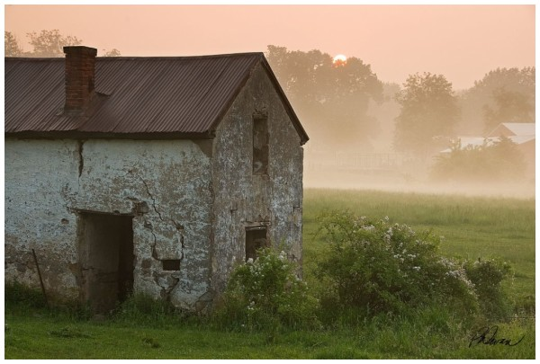 fog at sunrise over a springhouse, chester county