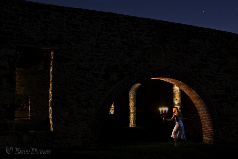 woman holding candles at night, Lockridge Furnace