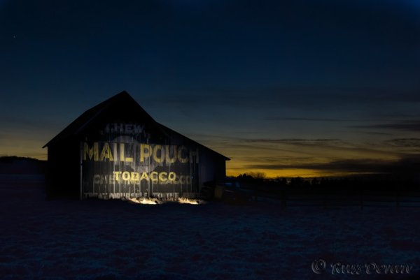 Mail Pouch Barn at Twilight