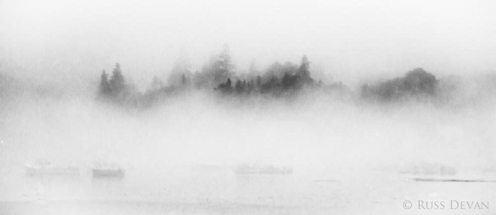 Image of fog-shrouded island in Maine