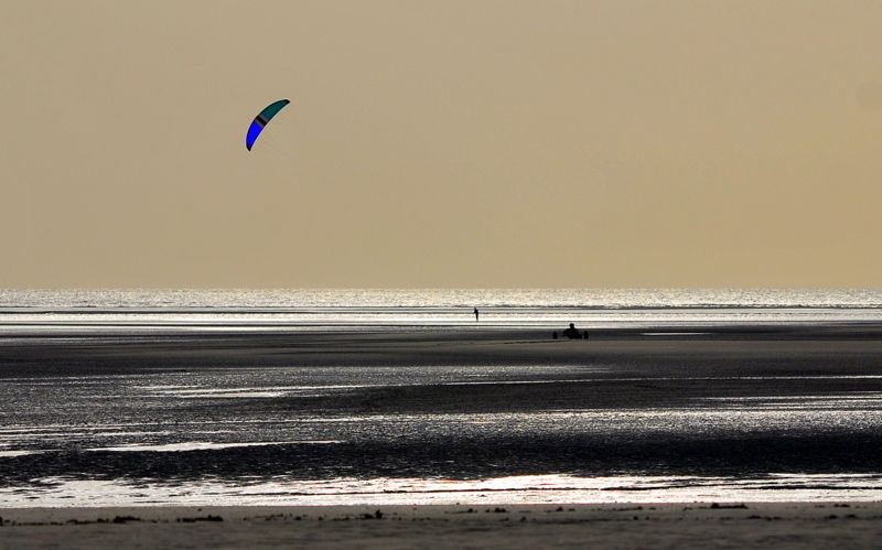 Wind sport in the evening