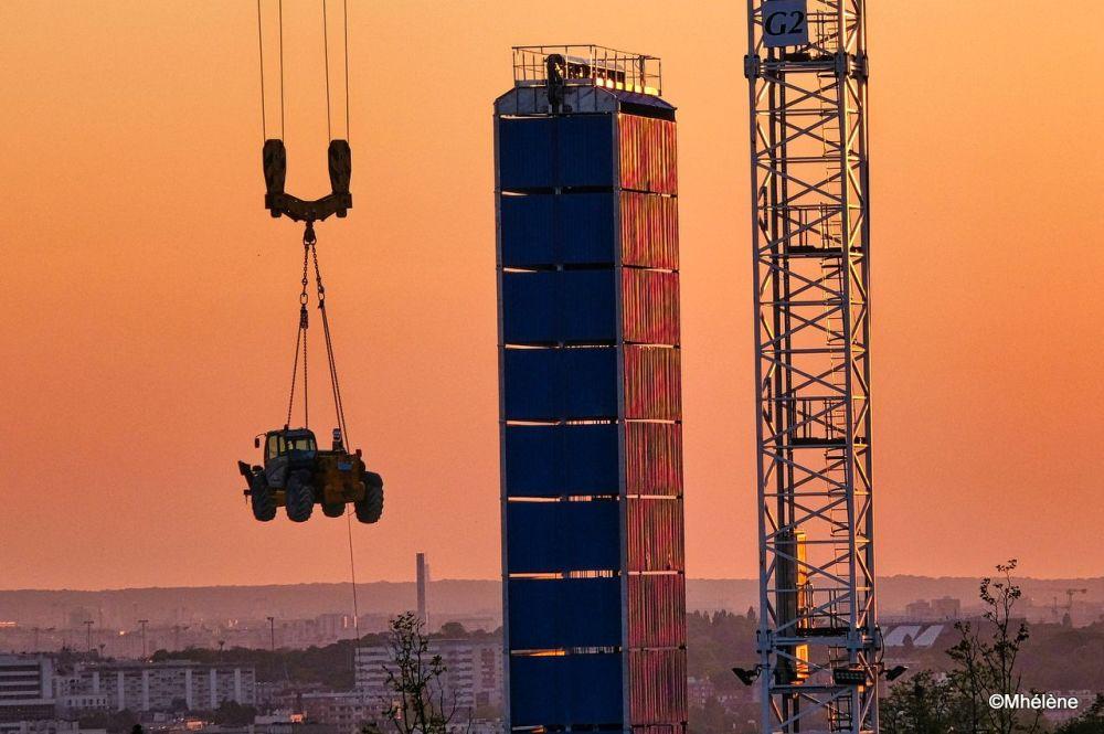 Le chantier au coucher du soleil