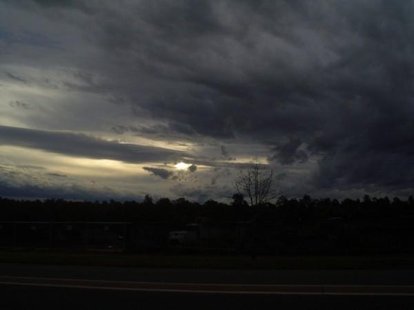 Storm hill rain sky