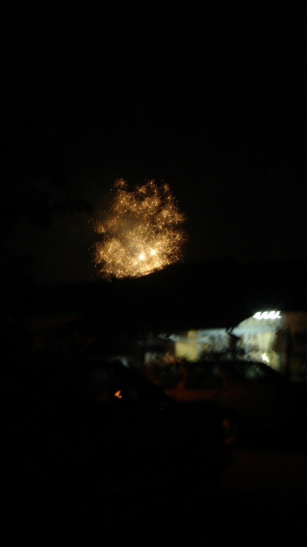 fireworks near the house.