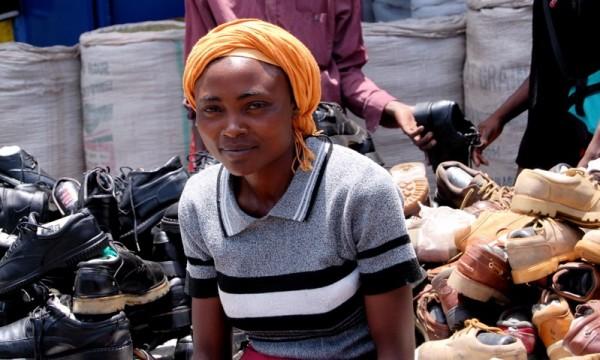 A shoe dealer in a Nairobi market