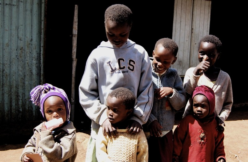 Children in a displaced persons camp in Kenya