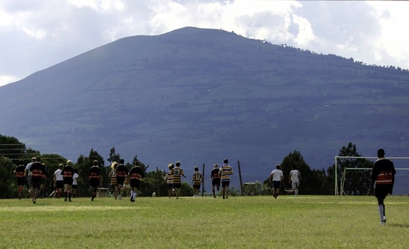 Rugby pitch on the edge of the Rift Valley