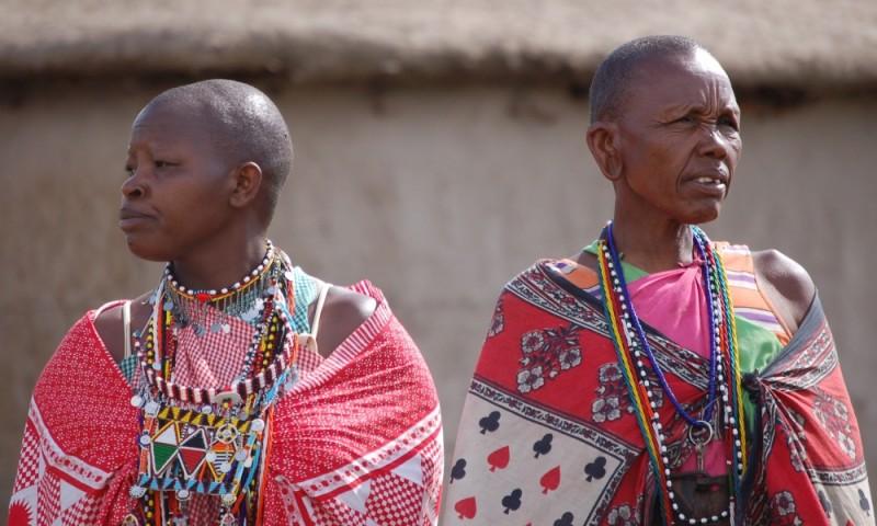 Two married Maasai women in their village