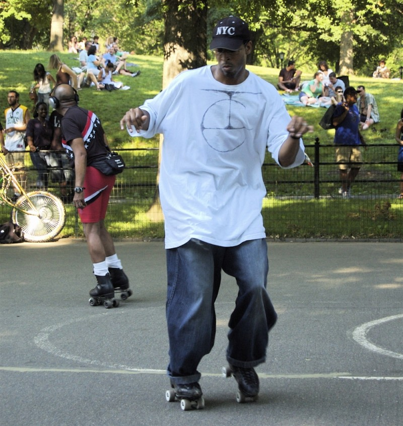 Young man rollerblading in Central Park