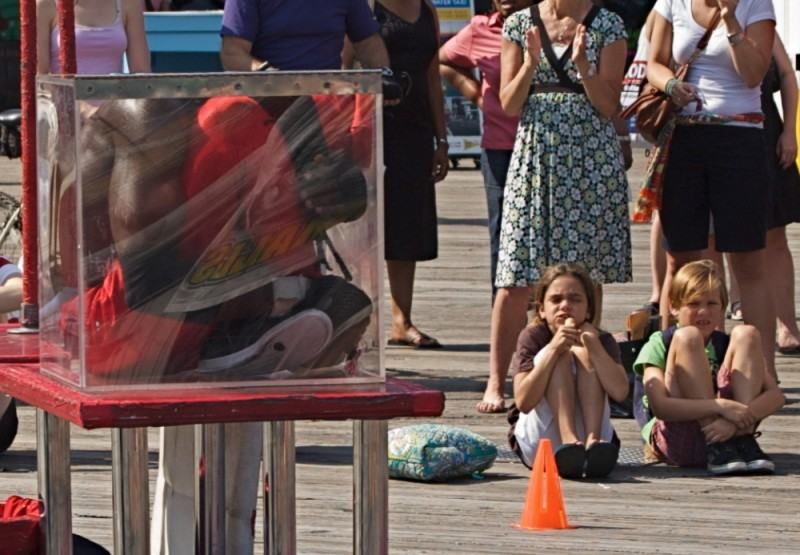 Street entertainer on NYC waterfront