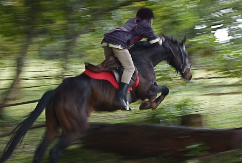 Horse and rider taking off over a jump