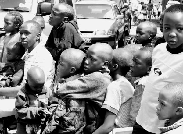 Audience for a street performance, Nairobi