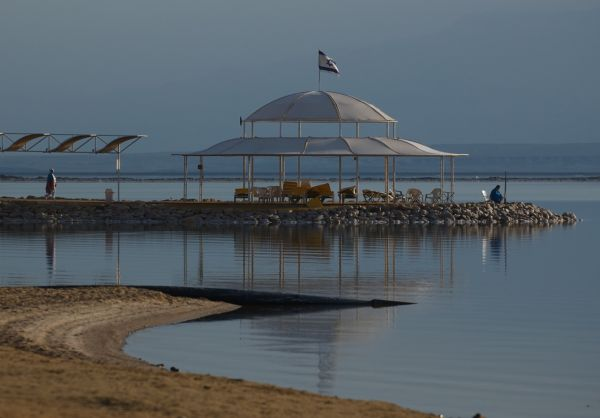 Early-morning bathers, Dead Sea