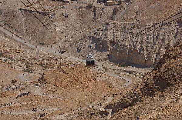 Snake trail and cable car at Masada
