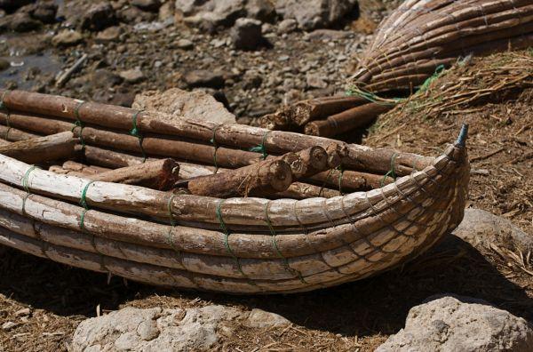 Balsa-wood boat typical of Lake Baringo, Kenya