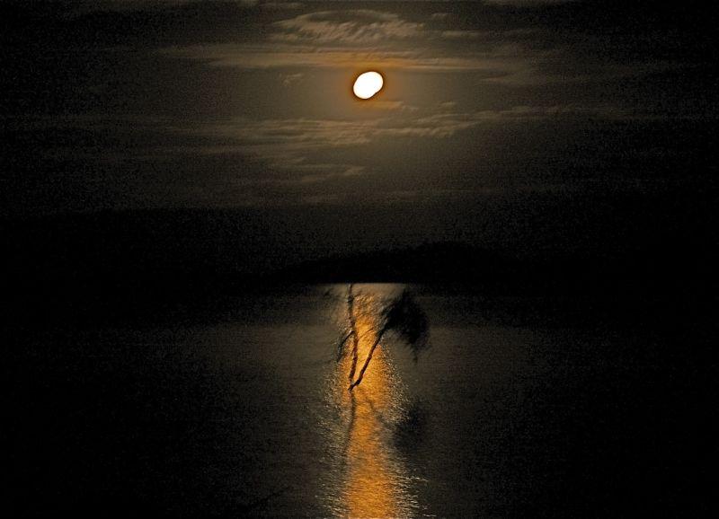 Full moon, Lake Baringo, Kenya