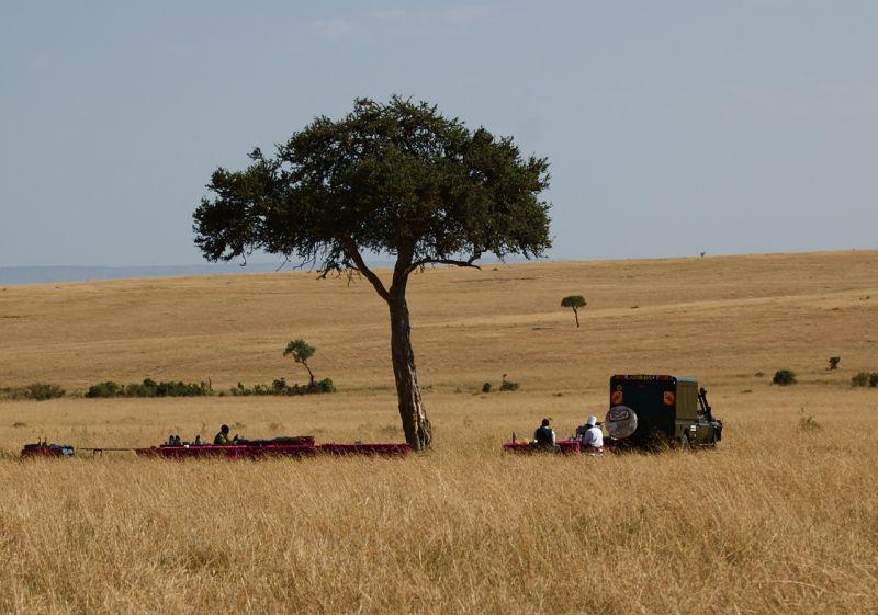 Chef and servers awaiting guests, Masai Mara