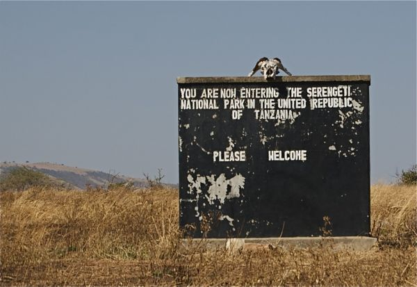 Welcome sign on the Kenya/Tanzania border