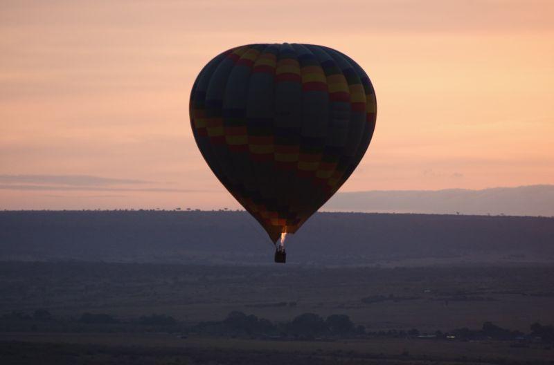 Balloon soaring over the Masai Mara, Kenya