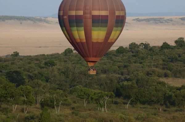 Hot air balloon getting ready to land