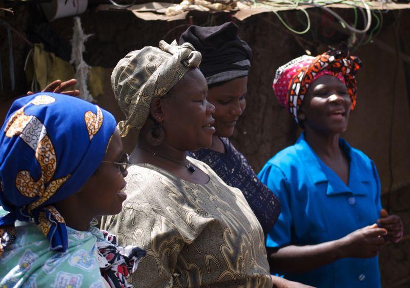 Kogorocho residents singing at school celebration