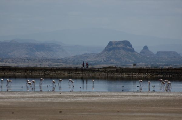 Walkers on Lake Magadi rail line, Kenya