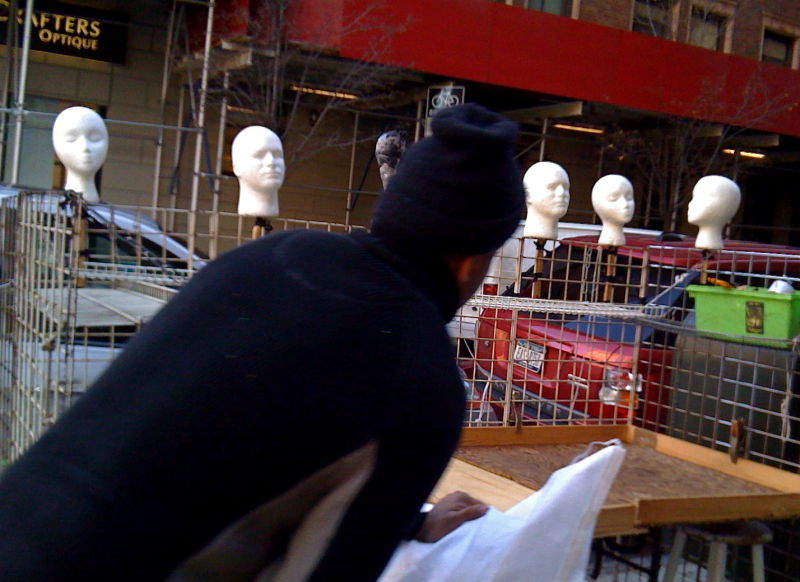 Heads waiting for hats, NYC