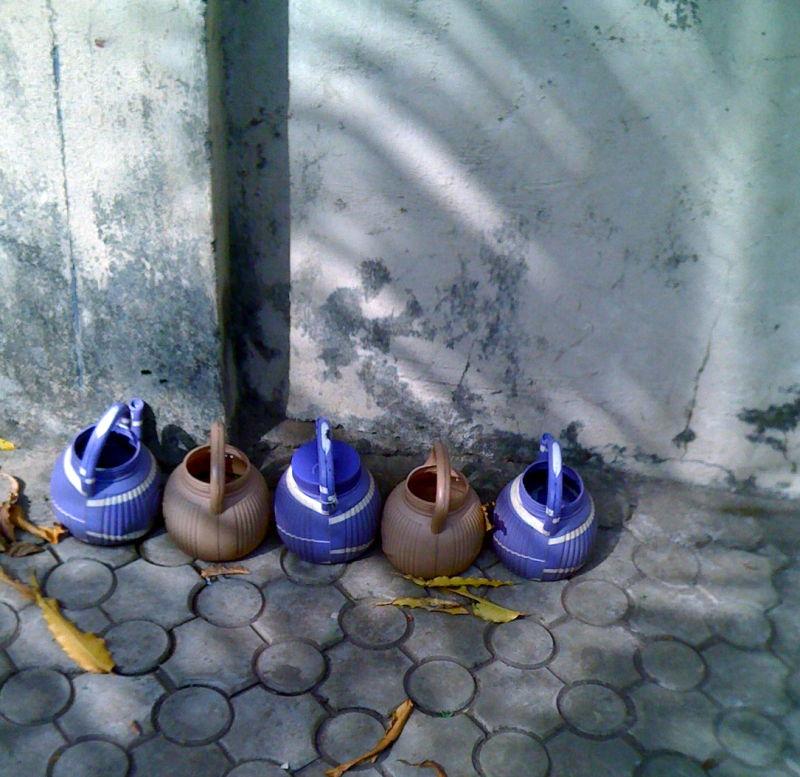 Plastic teapots in Abuja, Nigeria