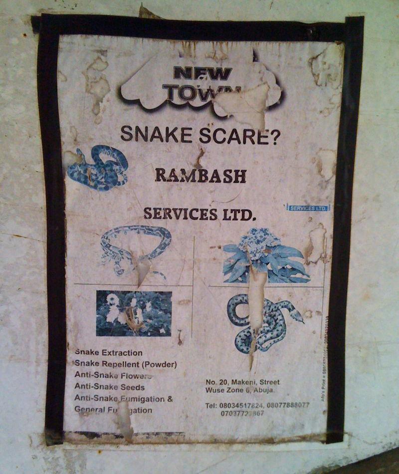 Ad for snake removal service, Abuja, Nigeria